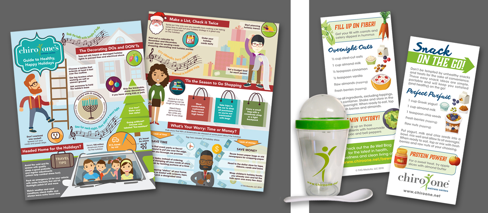 Chiro One Holiday and Healthy Snacks Info Graphic Cards