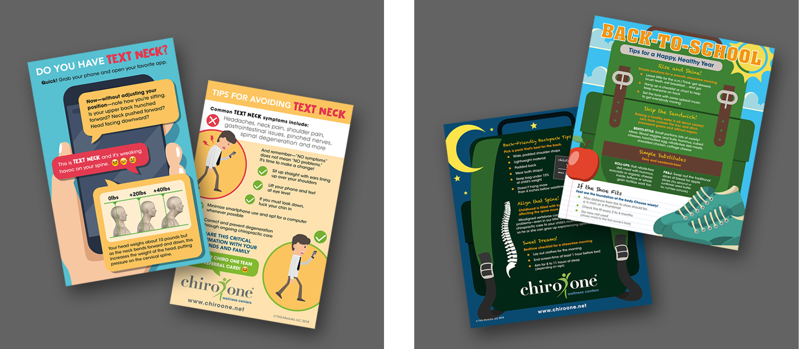 Chiro One Text Neck and Back-to-School Info Graphic Cards